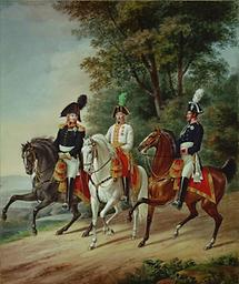 Drei Monarchen zu  Pferde
