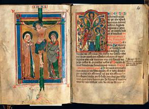 Kanonbild und Te-Igitur-Initiale im Missale von Marbach