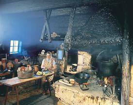 Rauchküche in einem Bauernhaus bei Maria Neustift