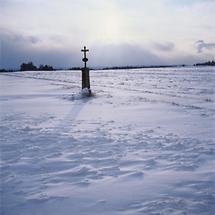 Flurkreuz in Winterlandschaft