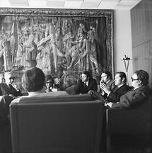 Hannes Androsch, Franz Vranitzky und Beppo Mauhart bei einer Besprechung