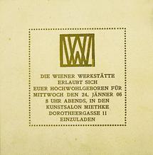 Einladung der Wiener Werkstätte