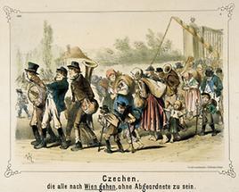 Satirisches Blatt zur Migration der Tschechen nach Wien