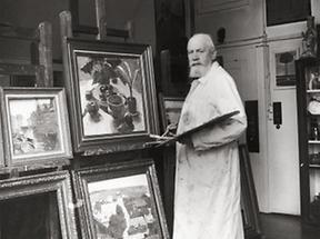 Carl Moll in seinem Wiener Atelier