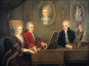 Leopold Mozart mit seinen Kindern