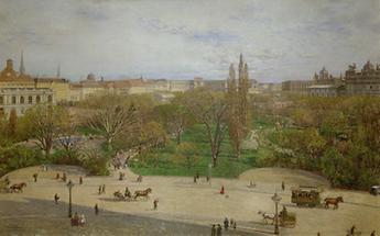 Der Rathauspark gegen die Neue Hofburg