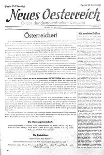 Titelblatt der ersten Nummner von Neues Österreich