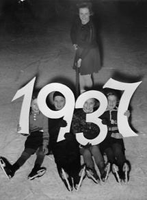 Kinder auf dem Eislaufplatz zu Silvester 1937