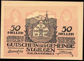 """Notgeld """"50 Heller Gutschein der Gemeinde St. Gilgen"""""""