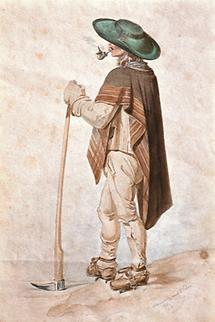 Obersteirischer Holzknecht mit Kotze