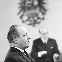 Franz Olah während seiner Gerichtsverhandlung