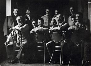 Otto Wagner mit seinen Mitarbeitern