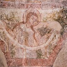 Romanisches Fresko eines Heiligen