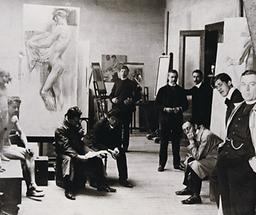 Oskar Kokoschka im Kreise seiner Mitschüler