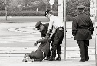 Während einer Amtshandlung der Polizei