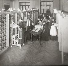 Registratur in einer Postsparkasse