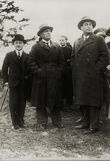 Dollfuß, Gömbös und Mussolini in Rom