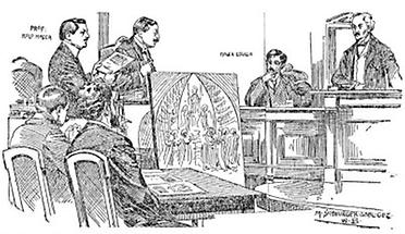 Zeitungsillustration zum Plagiats-Prozess