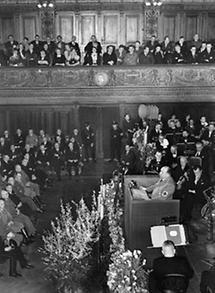 Reichsminister Walther Funk eröffnet die Leipziger Frühjahrsmesse.