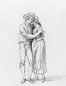 Sich umarmendes, ländliches, junges Paar