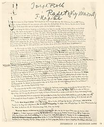 Manuskript aus Radetzymarsch