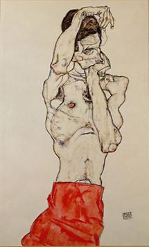 Stehender männlicher Akt mit rotem Lendentuch
