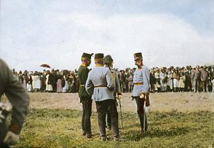 Franz Joseph I mit Gerälen bei der jährlichen Parade