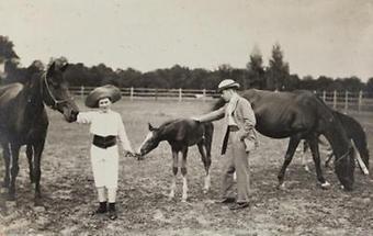 Ungarische Aristokraten mit Pferden