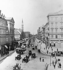 Die Praterstraße gegen den Praterstern