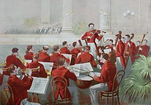 Johann Strauß Sohn mit seinem Orchester