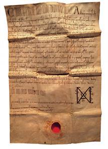 Zisterzienser-Stift Zwettl, Stiftsbibliothek, alte Urkunde