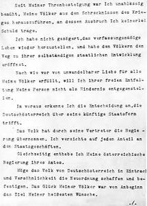 Abdankungsurkunde Kaiser Karls