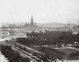 Die Wiener Ringstraße mit dem Parlament