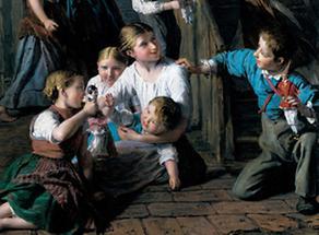 Kinder mit Puppen spielend