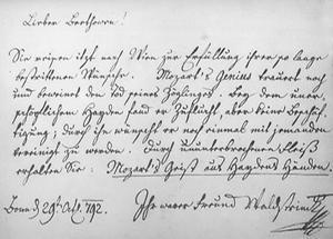 Eintragung in Beethovens Stammbuch