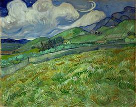 Weizenfeld und Berge