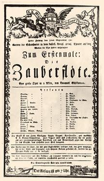 Theaterzettel zur Uraufführung von der Zauberflöte
