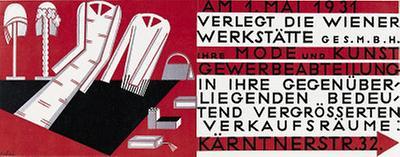 Umzugsanzeigeplakat der Wiener Werkstätte