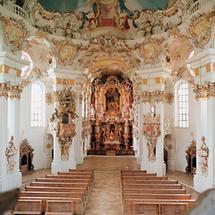 Innenansicht der Wallfahrtskirche Wies
