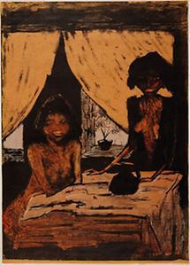 Zwei Zigeunermaedchen im Wohnraum