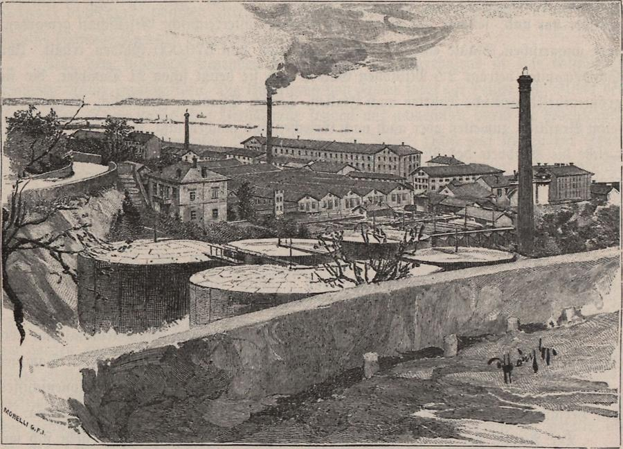 Illustration Petroleum-Raffinerie in Fiume