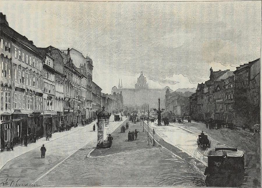 Illustration Rossmarkt in Prag