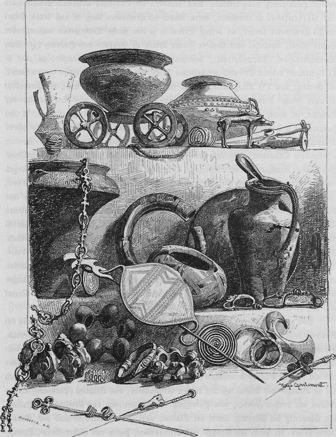 Illustration Opferwagen, Schwerter, etc.