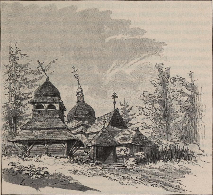 Illustration Holzkirche in Skorodyuce