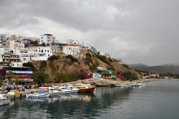 Agia Galini harbour in the rain on the south cost of Crete, Greece.