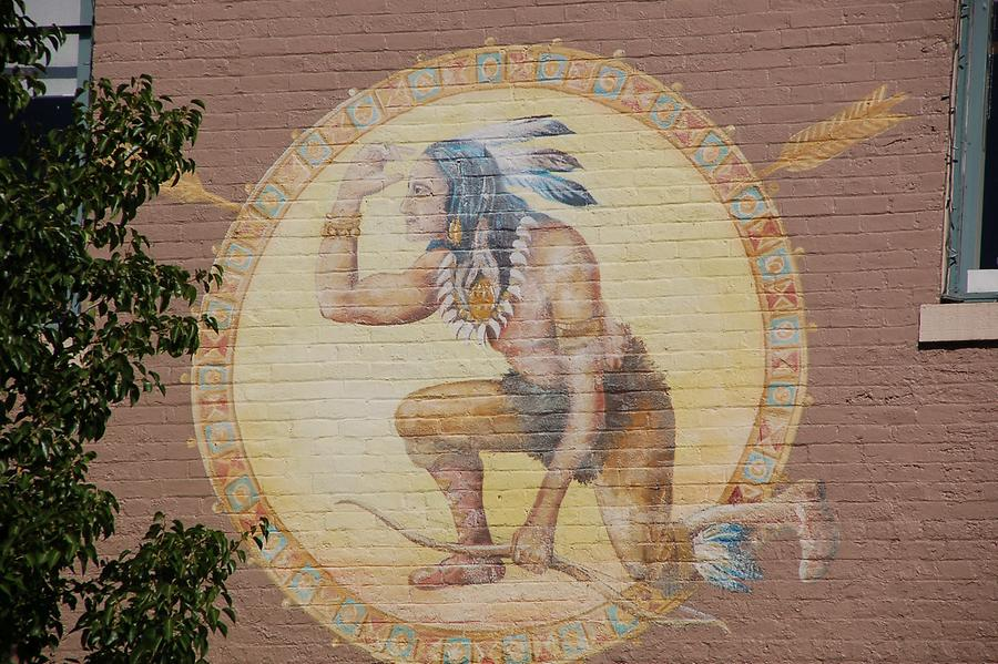 Mural of Native Amercian on house in Golden