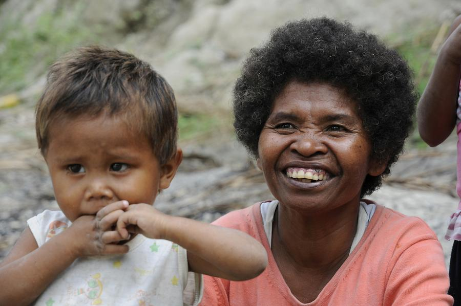 Aeta woman with child