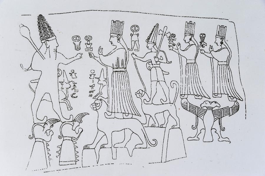Drawing of a Relief in Yazilikaya