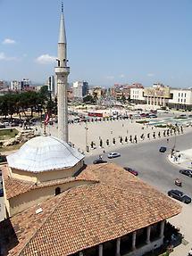 Skanderbeg Square in the center of Tirana