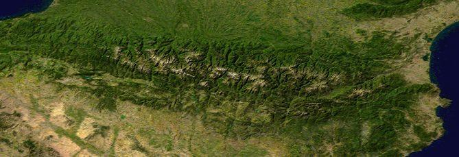 Satellite image of the Pyrenees